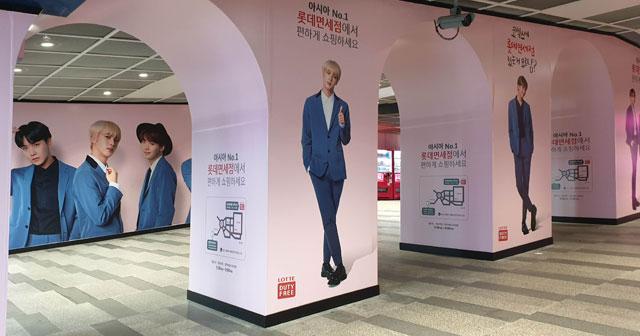 ソウル三成駅の地下にあるBTSディスプレイ