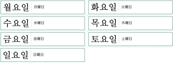 韓国語単語リスト曜日編