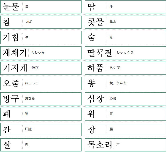 韓国語単語リスト体の機能編
