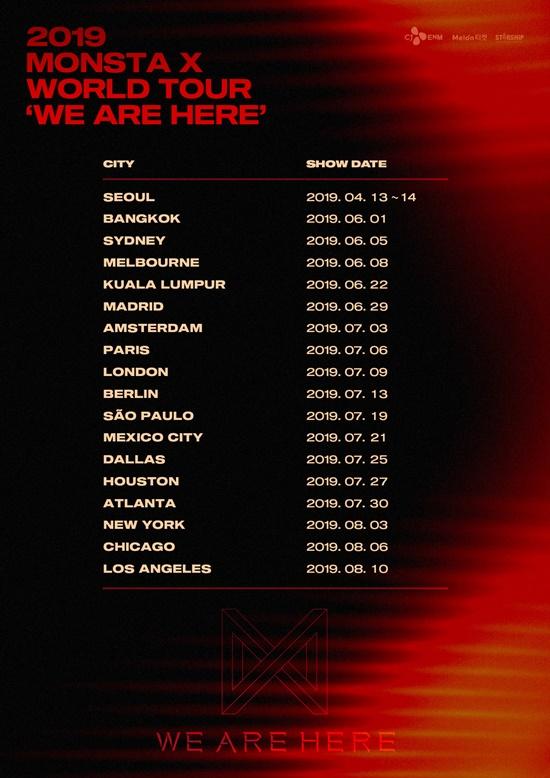 Monsta X 3回目のワールドツアー We Are Here 全世界18都市で開催