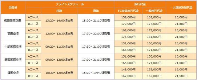 カラムの韓国ツアー値段
