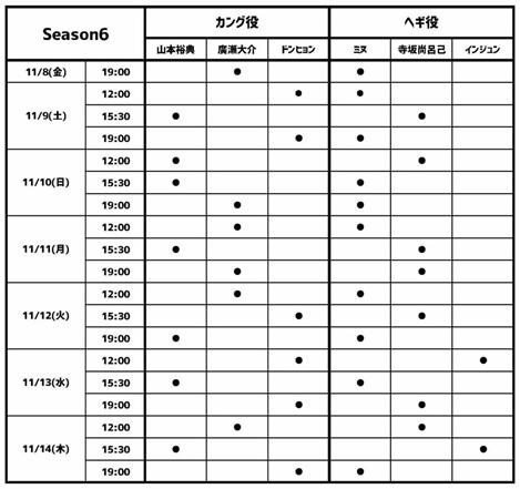 マイバケ日程表