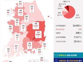 韓国の新型コロナ感染者数