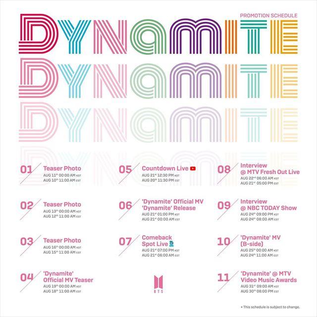 BTS ダイナマイト スケジュール