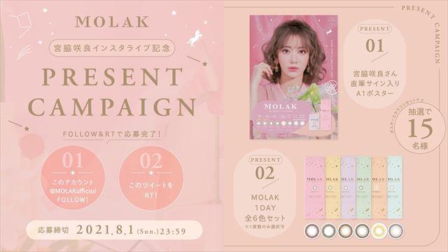 宮脇咲良の直筆サイン入りポスターとMOLAK(モラク)1DAY全6色セットが抽選で15名に当たるプレゼントキャンペーン